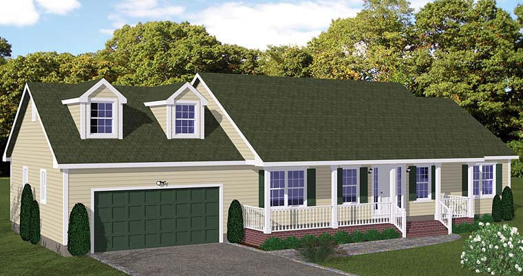 Country, Ranch, Southern House Plan 40631 with 3 Beds, 2 Baths, 2 Car Garage Elevation