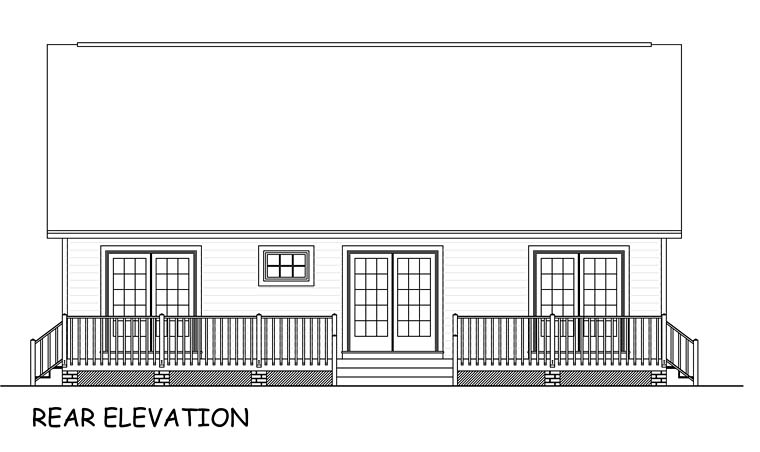 Ranch, Traditional House Plan 40685 with 3 Beds, 2 Baths, 2 Car Garage Rear Elevation
