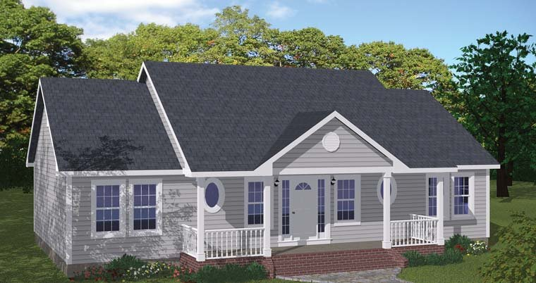 Country, Ranch House Plan 40686 with 3 Beds, 2 Baths Elevation