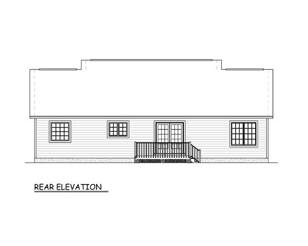 Country, Ranch House Plan 40686 with 3 Beds, 2 Baths Rear Elevation