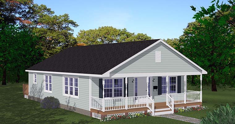 Cabin, Country, Ranch, Traditional House Plan 40697 with 3 Beds, 1 Baths Elevation
