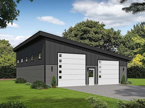 Contemporary, Modern 2 Car Garage Plan 40807, RV Storage Elevation