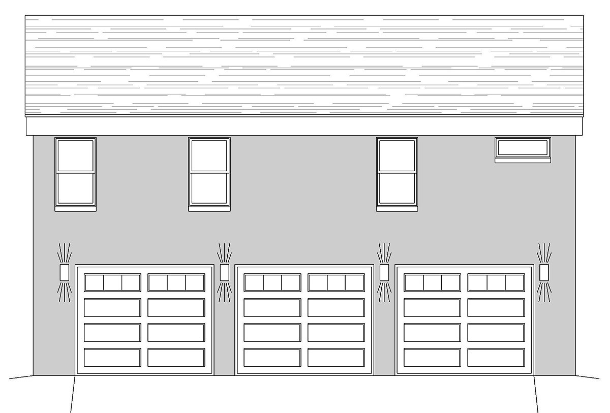 Coastal, Contemporary, Modern, Traditional House Plan 40835 with 1 Beds, 2 Baths, 3 Car Garage Rear Elevation