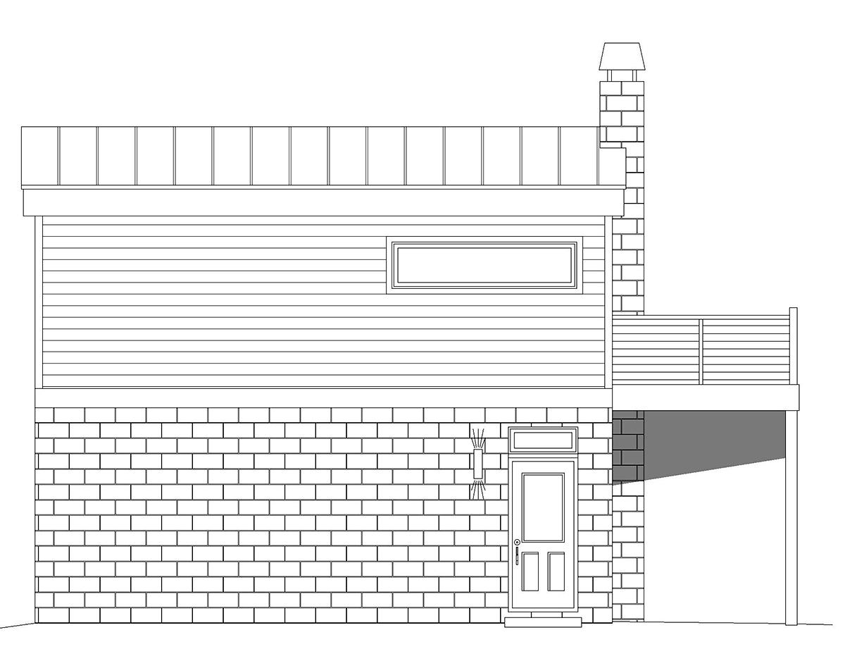 Coastal, Contemporary, Modern Garage-Living Plan 40862 with 1 Beds, 1 Baths, 2 Car Garage Rear Elevation