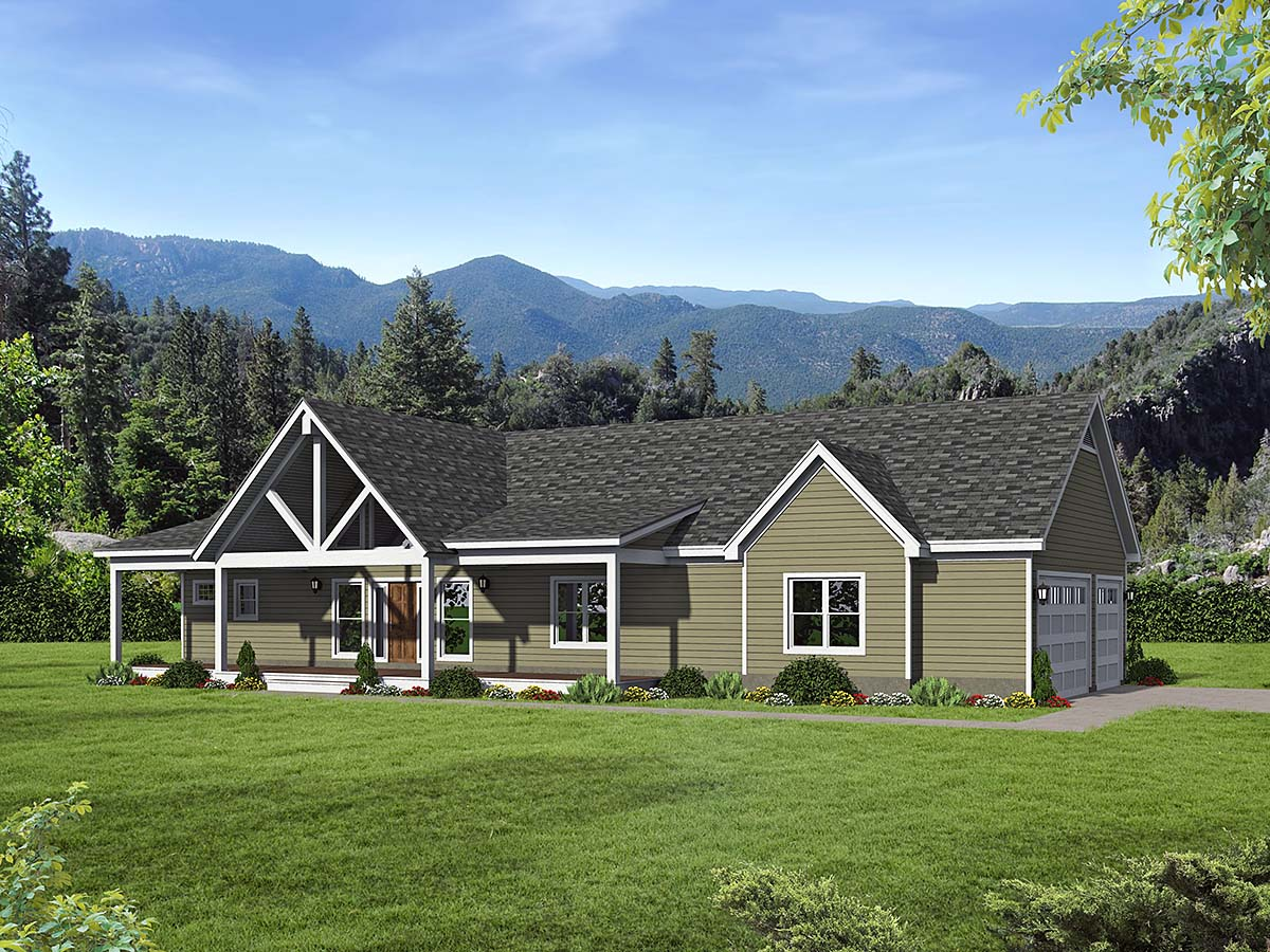 Country, Farmhouse, Ranch House Plan 40866 with 2 Beds, 2 Baths, 3 Car Garage Elevation