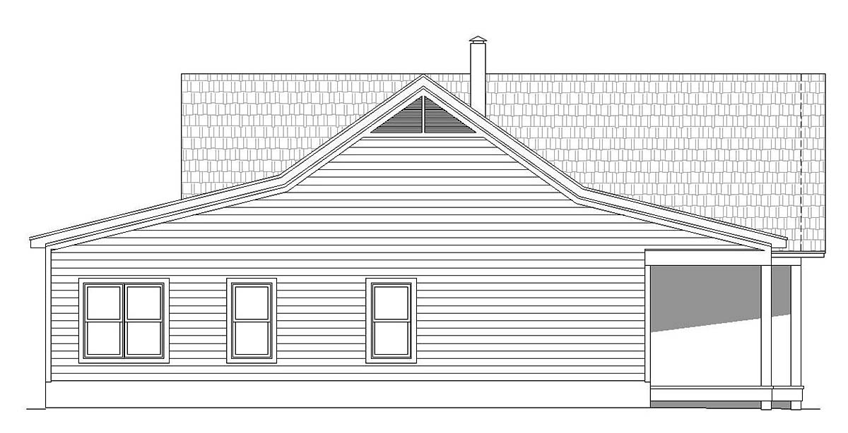 Country, Farmhouse, Ranch House Plan 40866 with 2 Beds, 2 Baths, 3 Car Garage Picture 2