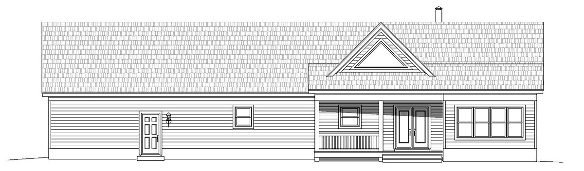 Country, Farmhouse, Ranch House Plan 40866 with 2 Beds, 2 Baths, 3 Car Garage Rear Elevation