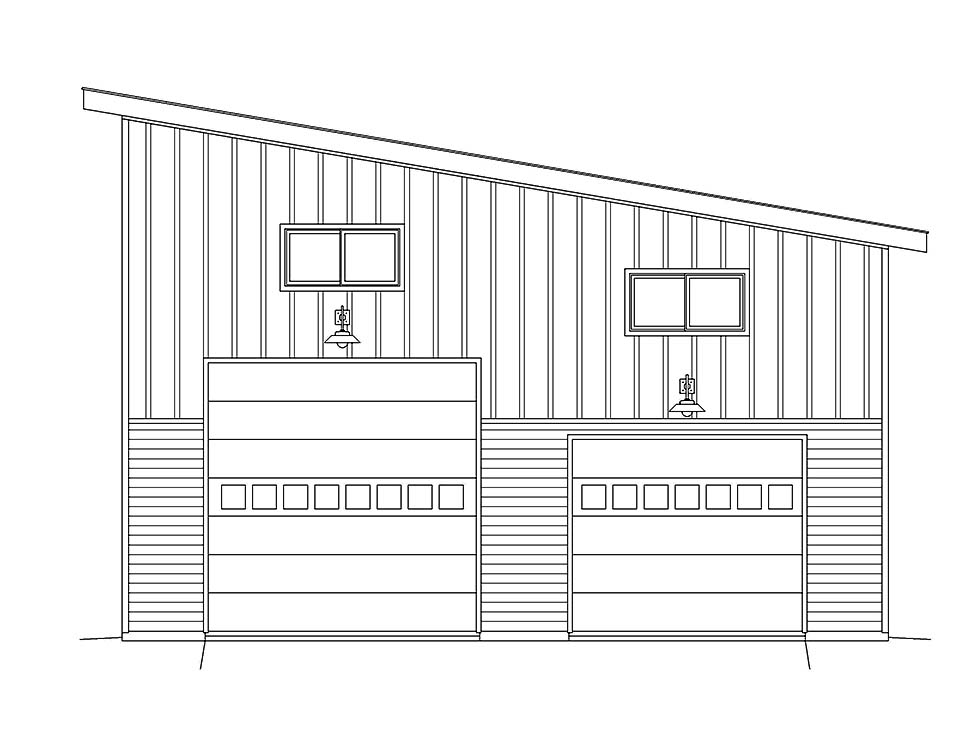 Contemporary, Modern 2 Car Garage Plan 40874 Picture 3