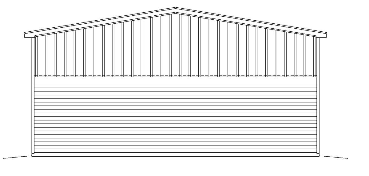 Country, Farmhouse, Traditional 1 Car Garage Plan 40882, RV Storage Rear Elevation