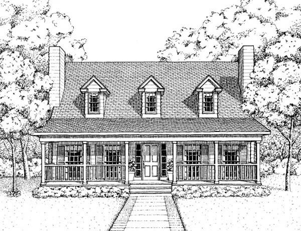 Country House Plan 41022 with 3 Beds, 3 Baths Elevation