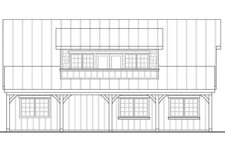 Craftsman, European 2 Car Garage Apartment Plan 41153 with 1 Beds, 1 Baths Picture 1