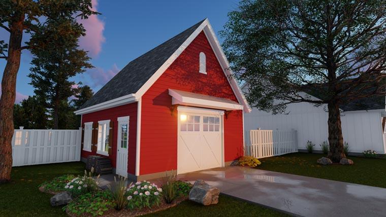 Country, Farmhouse 1 Car Garage Plan 41176 Elevation