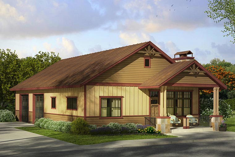 Craftsman 4 Car Garage Apartment Plan 41243 with 1 Beds, 1 Baths Elevation