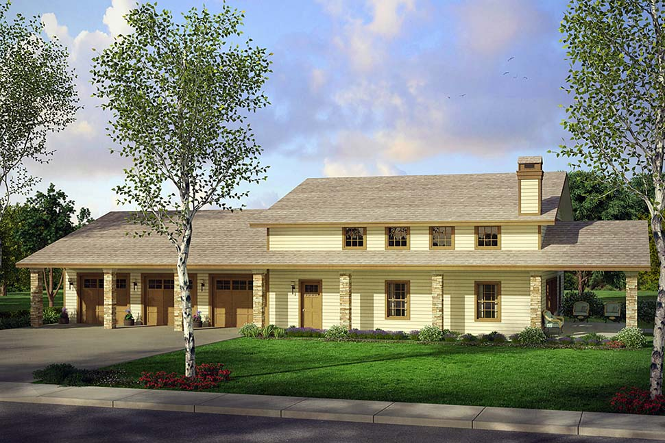 Country, Southern 4 Car Garage Apartment Plan 41290 Elevation