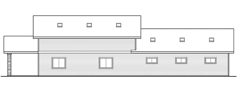 Country, Southern 4 Car Garage Apartment Plan 41290 Rear Elevation