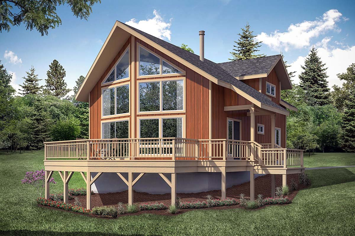 A-Frame House Plan 41336 with 2 Beds, 2 Baths Elevation