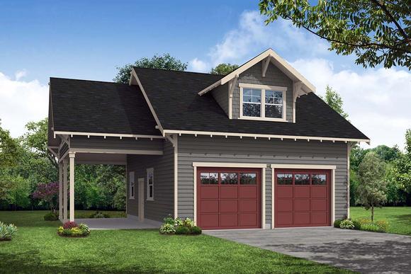 Cottage, Craftsman 2 Car Garage Apartment Plan 41350 Elevation