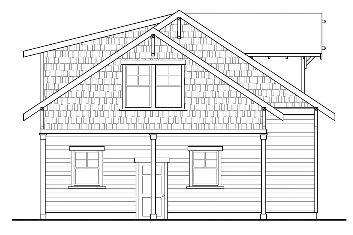Cottage, Craftsman 2 Car Garage Apartment Plan 41350 Picture 2