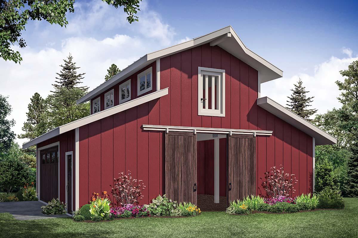 Country, Farmhouse, Traditional 2 Car Garage Plan 41364 Elevation