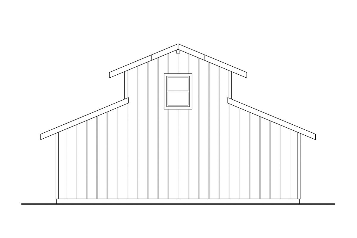 Country, Farmhouse, Traditional 2 Car Garage Plan 41364 Rear Elevation