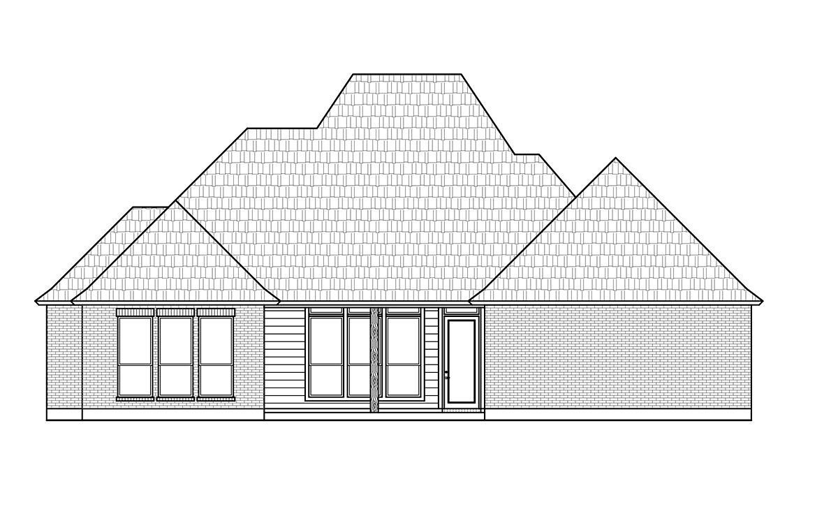 Acadian, Colonial, French Country House Plan 41430 with 4 Beds, 3 Baths, 2 Car Garage Rear Elevation