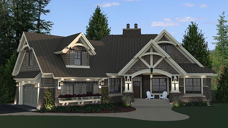 Bungalow, Cottage, Craftsman, Tudor House Plan 42675 with 3 Beds, 3 Baths, 2 Car Garage Picture 1