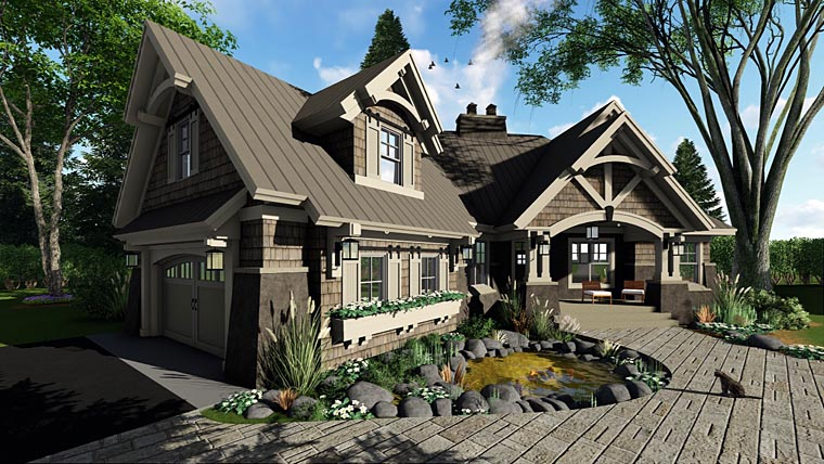 Bungalow, Cottage, Craftsman, Tudor House Plan 42675 with 3 Beds, 3 Baths, 2 Car Garage Picture 2