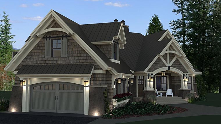 Bungalow, Cottage, Craftsman, Tudor House Plan 42675 with 3 Beds, 3 Baths, 2 Car Garage Picture 3