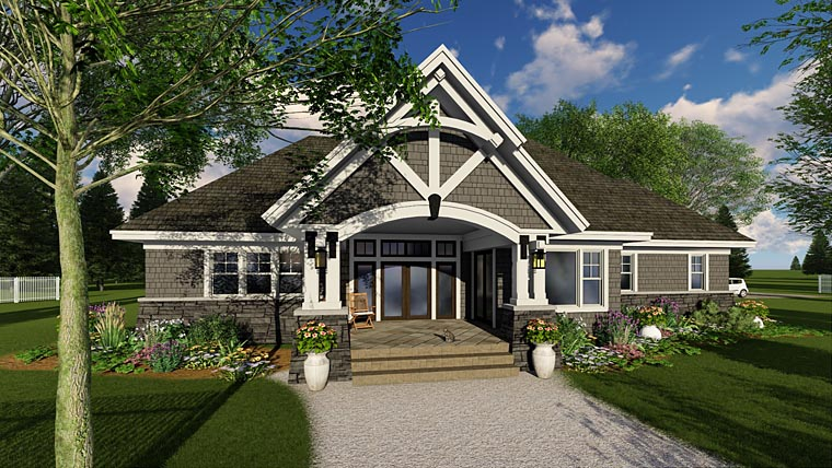 Bungalow, Cottage, Country, Craftsman, Tudor House Plan 42680 with 3 Beds, 3 Baths, 2 Car Garage Rear Elevation