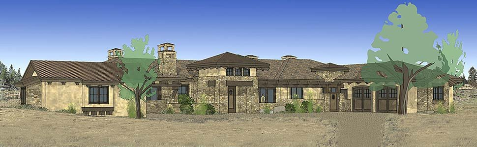 Tuscan Plan with 3574 Sq. Ft., 3 Bedrooms, 4 Bathrooms, 3 Car Garage Elevation
