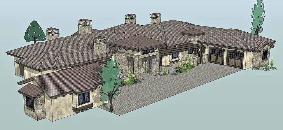 Tuscan Plan with 3574 Sq. Ft., 3 Bedrooms, 4 Bathrooms, 3 Car Garage Picture 4
