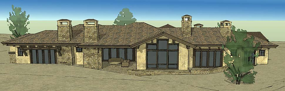 Tuscan Plan with 3574 Sq. Ft., 3 Bedrooms, 4 Bathrooms, 3 Car Garage Rear Elevation