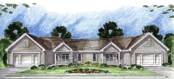 One-Story, Traditional Multi-Family Plan 44062 with 3 Beds, 2 Baths, 2 Car Garage Elevation