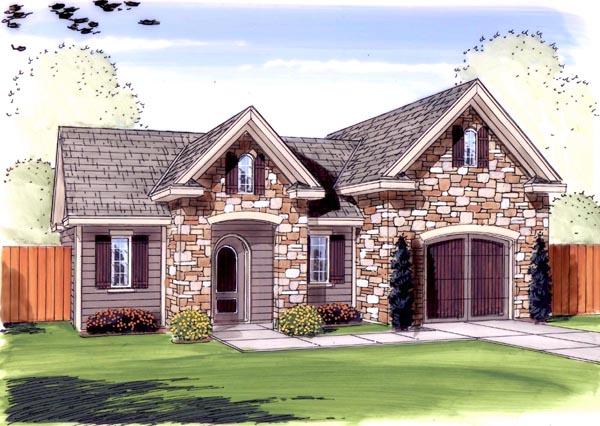 Farmhouse, Traditional 1 Car Garage Plan 44137 Elevation