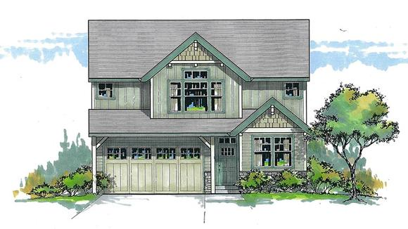 Craftsman, Traditional House Plan 44616 with 3 Beds, 3 Baths, 2 Car Garage Elevation
