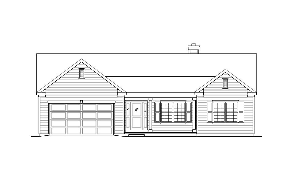 Ranch, Traditional House Plan 45198 with 3 Beds, 3 Baths, 2 Car Garage Picture 3