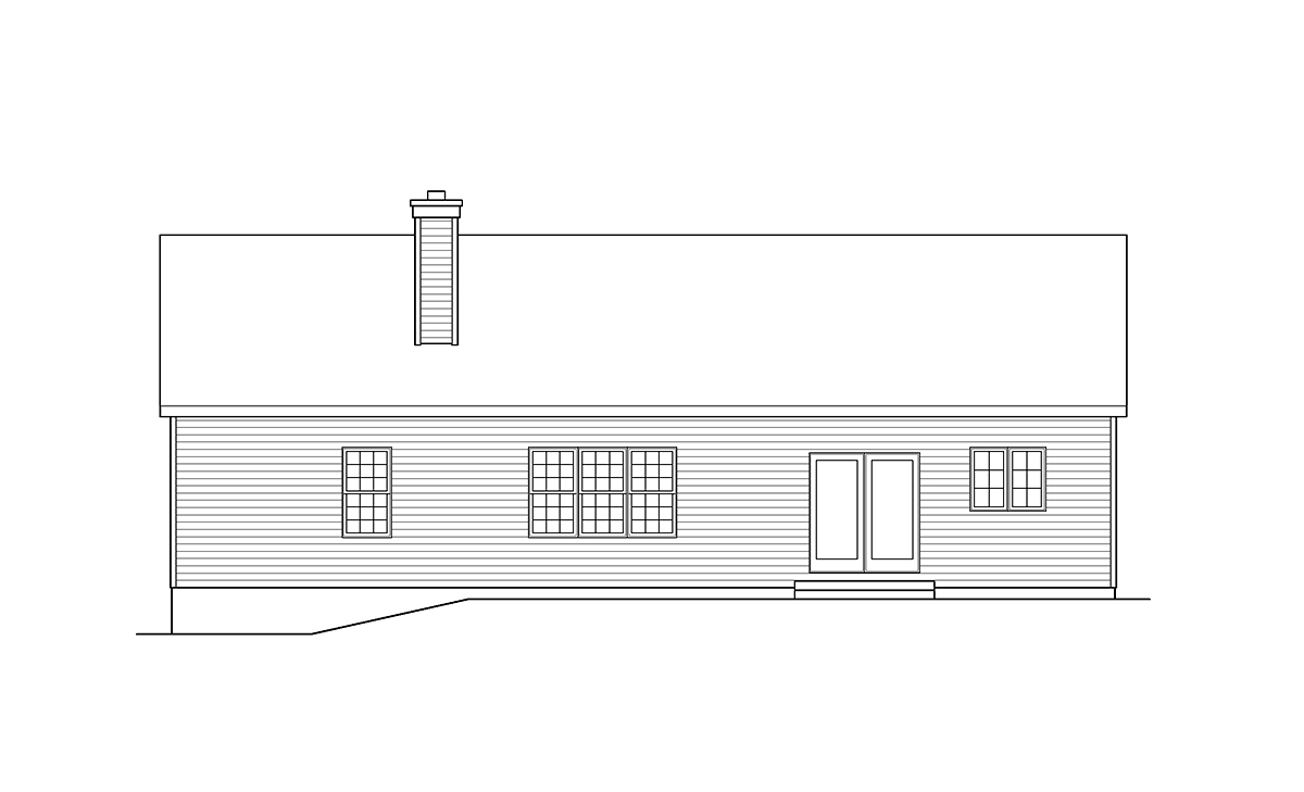 Ranch, Traditional House Plan 45198 with 3 Beds, 3 Baths, 2 Car Garage Rear Elevation