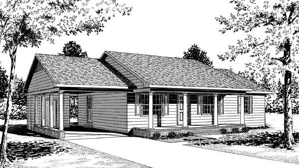 Ranch House Plan 45215 with 3 Beds, 2 Baths, 1 Car Garage Elevation