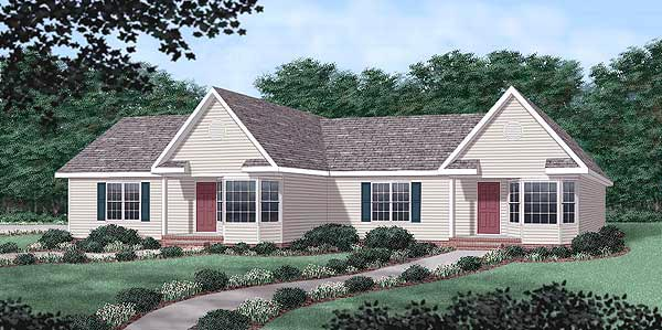 One-Story, Ranch Multi-Family Plan 45371 with 4 Beds, 4 Baths, 2 Car Garage Elevation
