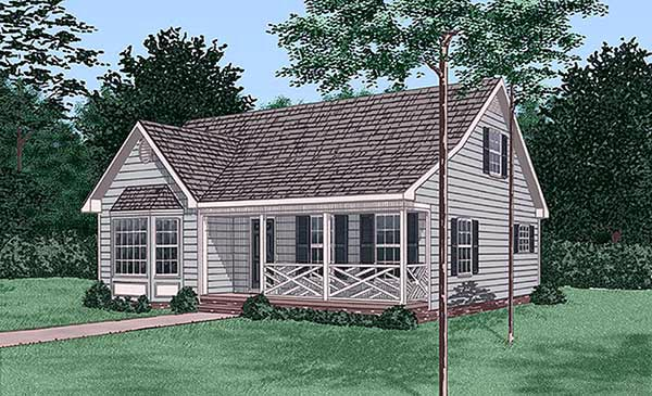 Narrow Lot, Ranch House Plan 45416 with 4 Beds, 2 Baths Elevation