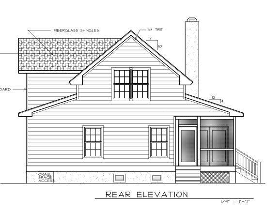 Country, Farmhouse House Plan 45628 with 3 Beds, 3 Baths Rear Elevation