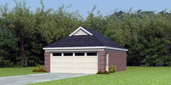Traditional 2 Car Garage Plan 45787 Elevation