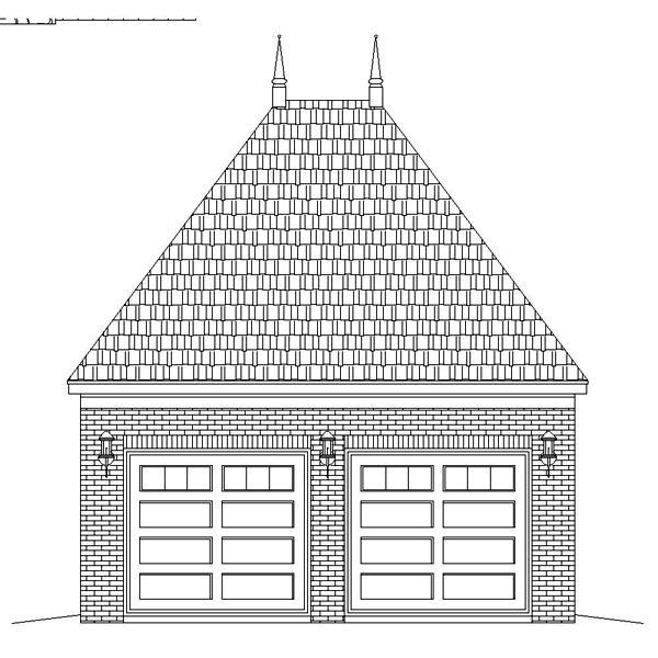European 2 Car Garage Plan 45790 Rear Elevation