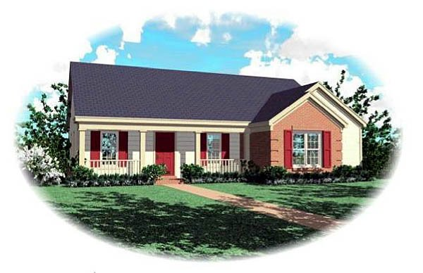One-Story, Ranch House Plan 46473 with 3 Beds, 2 Baths Elevation
