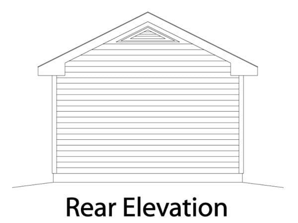 Traditional 1 Car Garage Plan 49018 Rear Elevation