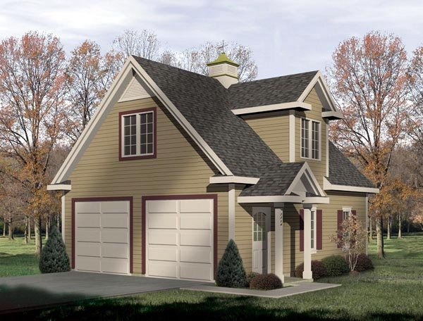Traditional 2 Car Garage Plan 49026 Elevation
