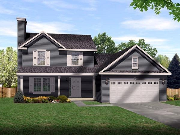 Country, One-Story House Plan 49083 with 4 Beds, 3 Baths, 2 Car Garage Elevation