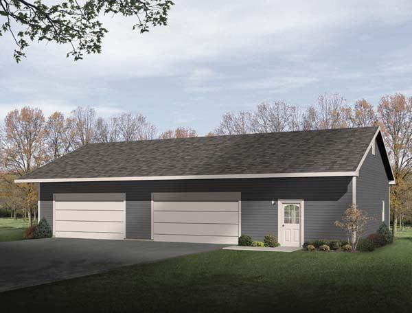 4 Car Garage Plan 49163 Elevation