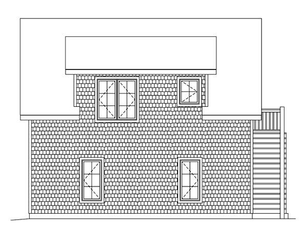 2 Car Garage Apartment Plan 49187 with 1 Beds, 1 Baths Rear Elevation
