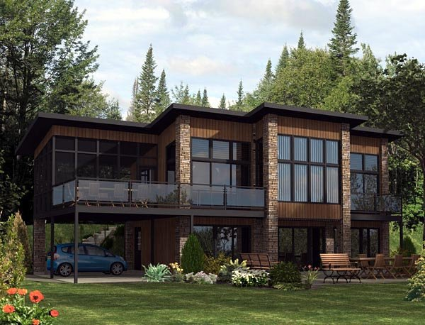Contemporary, Modern House Plan 50324 with 3 Beds, 2 Baths, 2 Car Garage Elevation